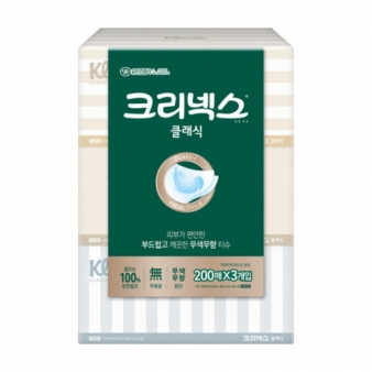 유한킴벌리 각티슈 크리넥스 NEW 클레식 200매 X3입
