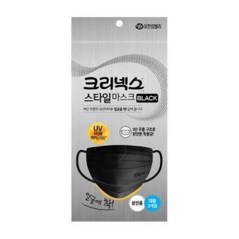 크리넥스 스타일마스크 대형 블랙마스크 3개입 1봉